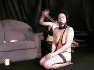 Collar and ball gag with a cute big tits girl tubes