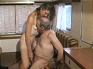 Brunette slut gets picked up by dudes in a motor home and fucks them for money