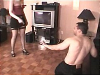 Naughty blonde bimbo forces a young guy to eat her snatch