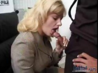 Blonde babe Adajja dressed for work sucks and fucks in office