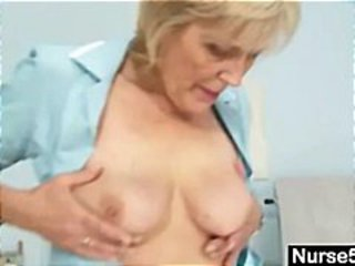 Blonde Granny Nurse Gives Herself Her Ow...