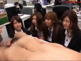 Office Lady Jerking Off Guy Cock While Her Colleauges Wathcing Them In The Office