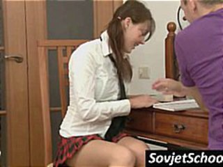 Brunette Russian teen is studying with a friend who wants her pussy
