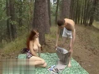 Big Tits Girlfriend Natural Outdoor Redhead Teen
