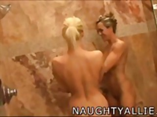 SHOWER TIME FOR THE GIRLS  WET LESBO WIVES