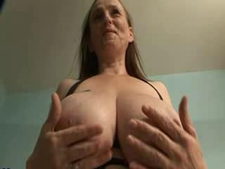 """Big Breasted Granny in Stockings Fingers Pussy"""" class=""""th-mov"""