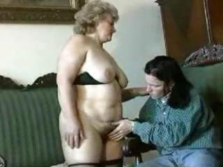 fat, blonde elderly gets licked, blows, and
