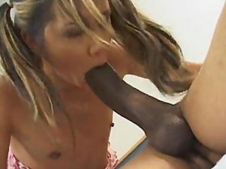 Tiny girl gagging and fucking a giant cock