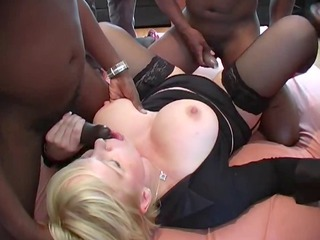 bbc gang bang with blond lady