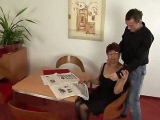 "Redhead Granny in Stockings Cum on Glasses"" target=""_blank"