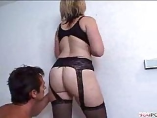 Very hot and skilful blonde milf eats erect dong with gusto