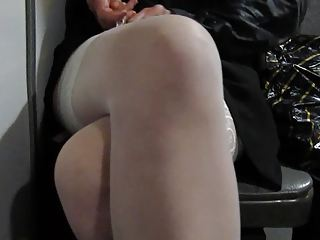 Girl in white stockings teasing in bus 2