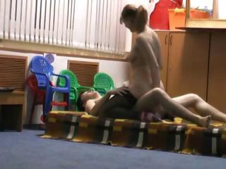 Horny fucking teacher gets a good pounding less the play room