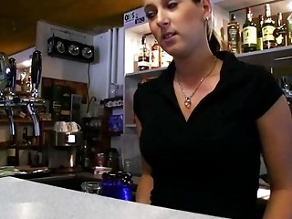 Barmaid Lenka nailed at the bar be fitting of cash