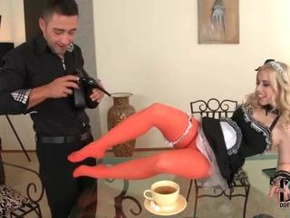 French maid in red pantyhose is hot as hell Sex Tubes