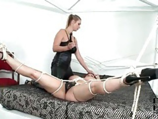 Acquisitive leather on dispirited mistress with tied up non-specific tubes