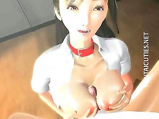 Sexy 3d Hentai Babe Eat Two Dicks