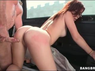 Sexy redhead nailed hardcore in his van