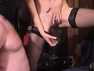 Sexy grown-up untrained milf dominatrix bizarre and extreme slave piss drinking fetish