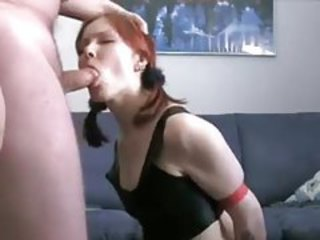 Amateur GF in latex teases and sucks his cock tubes