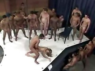 Huge Bukkake Men Wait In Line To Fuck Mature Slut