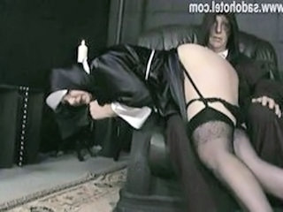 Hot increased by naughty nun slave bending over knee of priest with her skirt up increased by gets hit heavens her ass