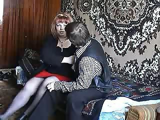 Russian boy fucking a readhead mature