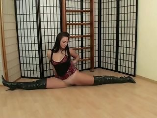 Flexible girl in boots