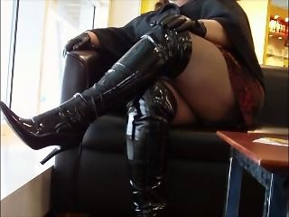 Black shiny boots and tights