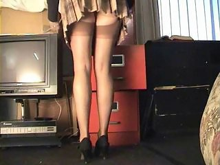 Transcriber stockings upskirt