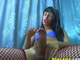 Tranny with a huge cock jerking