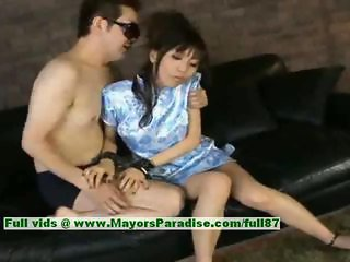 Akari Satsuki innocent amateur lovely chinese girl giving blowjob and sucking dicks