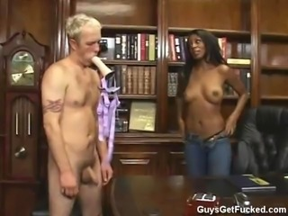 Monica Foster strapon fucks whiteboy