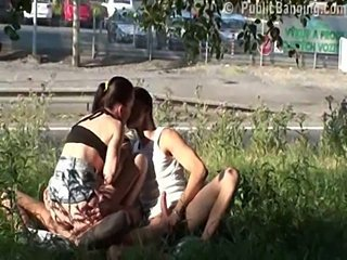 Outdoor Riding Teen Threesome