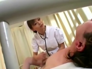 Asian nurse nasty jerks cock and gets sticky cumshot free
