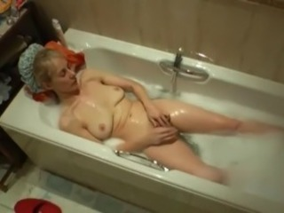 Mature White Mom Bathes and Plays on Hidden Cam - Voyeur