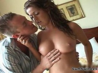 "Busty brunette babe gets horny sucking"" target=""_blank"