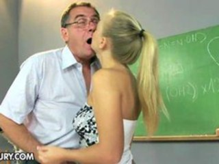 Blonde Daddy Kissing Old and Young School Teacher Teen