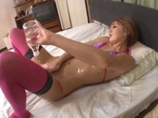 Asian Babe Japanese Masturbating Oiled Stockings