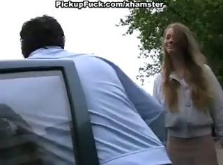 Young blonde sucking in motor