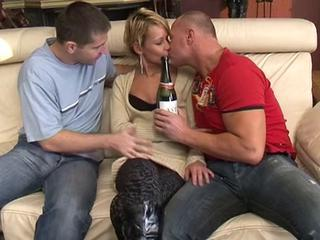 Drunk Kissing  Old and Young Threesome