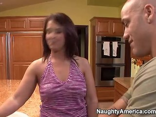 milf takes cock on kitchen counter