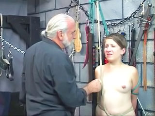 White fat slut is bound with rope by old man in sex dungeon and gets punished