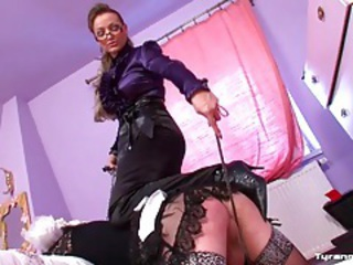 Sissy maid spanked by mistress and dragged into snow tubes
