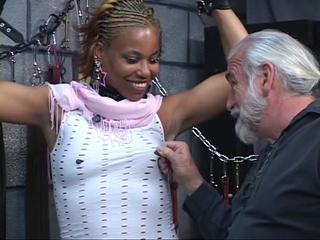 Cute young black bdsm babe gets restrained in Master Len's basement dungeon Sex Tubes