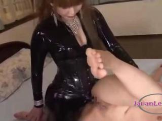 Attendant Girl In Mask Getting Her Pussy Fucked With Strapon By Mistress On An obstacle Bed In An obstacle Roo