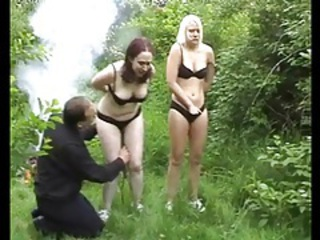 Bound sub girls in the forest kiss for him tubes