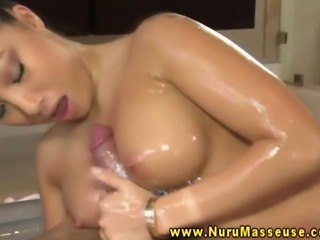 Asian massage babe oily massaging cock and balls with her mouth and hands