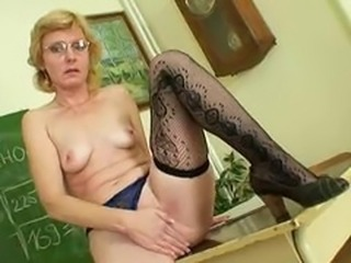 Glasses Masturbating Mature School Small Tits Stockings Teacher