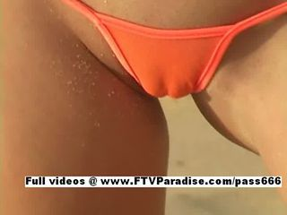 Carli amazing amazing blonde on the beach